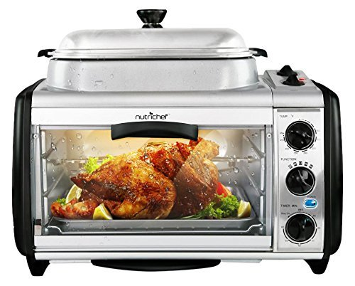 NutriChef Dual Countertop Toaster Oven - Perfect for Multi Baking Sear Simmer Saute & Rotisserie - Include Kitchen Bakeware Set Cooking Pot Wire Grill & Bake Tray with 27+ Quart Food Capacity PKMFT027-Ovens & Cookers-NutriChef Kitchen