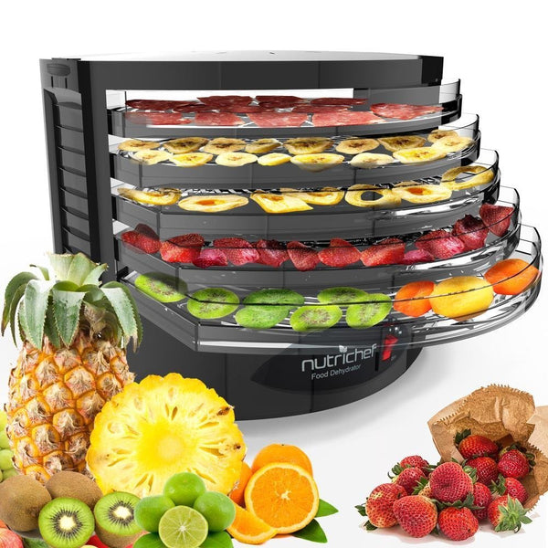 NutriChef Electric Food Dehydrator Machine - Professional Multi-Tier Hanging Food Preserver, Meat or Beef Jerky Maker, Fruit or Vegetable Dryer with 5 Stackable Trays, High-Heat Circulation- PKFD19BK-Dehydrators & Steamers-NutriChef Kitchen