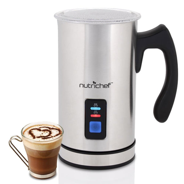 NutriChef Upgraded Dual Electric Milk Frother and Warmer - Sleek Compact Stainless Steel Steamer w/ Automatic Power Off Function and LED Light Indicator Perfect for Foamer and Creamy Latte - PKMFR14-Frothers-NutriChef Kitchen