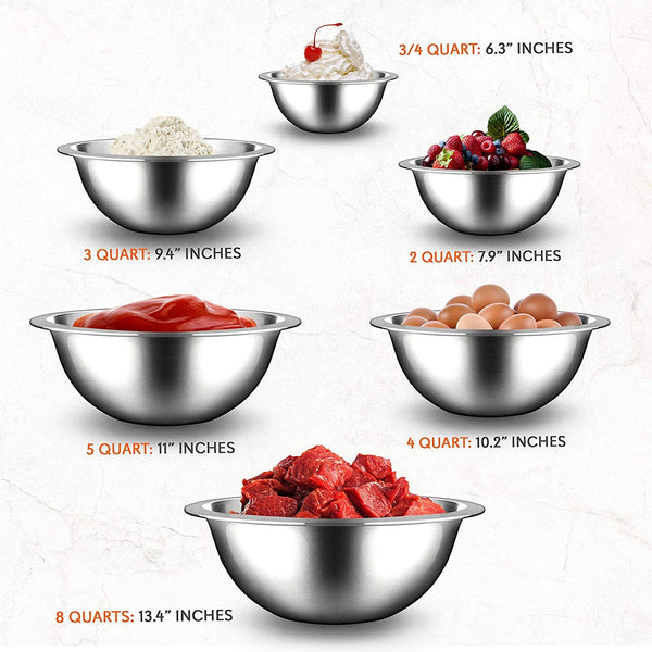 Stainless Steel Kitchen Mixing Bowls NCMB6PC