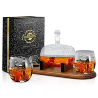 Glass Whiskey Lead Free Decanter with Stopper & Base NCGDS19
