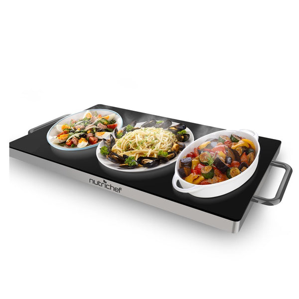NutriChef Portable Electric Hot Plate - Stainless Steel Warming Tray Dish Warmer w/ Black Glass Top - Keep Food Warm for Buffet Serving, Restaurant, Parties, Table or Countertop Use - PKWTR45-Food Warmers & Serving-NutriChef Kitchen