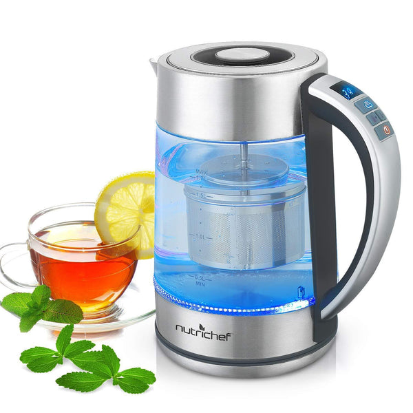 NutriChef Digital Hot Water Glass Kettle 1.7L PKWTK75-Water & Tea Kettles-NutriChef Kitchen