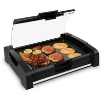NutriChef Dual Hot Plate Cooktop Crepe Maker with Grill & Glass Lid PKGRIL45
