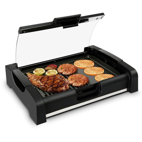 NutriChef Dual Hot Plate Cooktop Crepe Maker with Grill & Glass Lid PKGRIL45-Cooktops & Griddles-NutriChef Kitchen