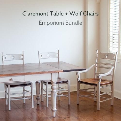 Claremont table + wolf chairs bundle