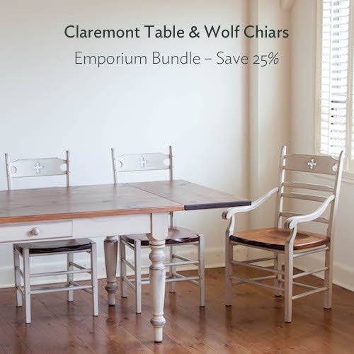 Claremont table and wolf chairs bundle