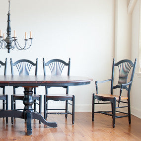 Clarke dining chairs with our glenora extension table in black with williams pine.