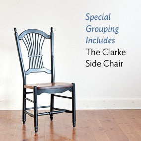 Special grouping includes the clarke sheaf-back side chair