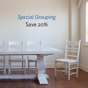 Special grouping includes clayton table and shelton chairs