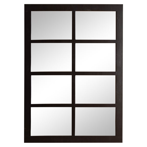 Eight Pane Mirror in Black