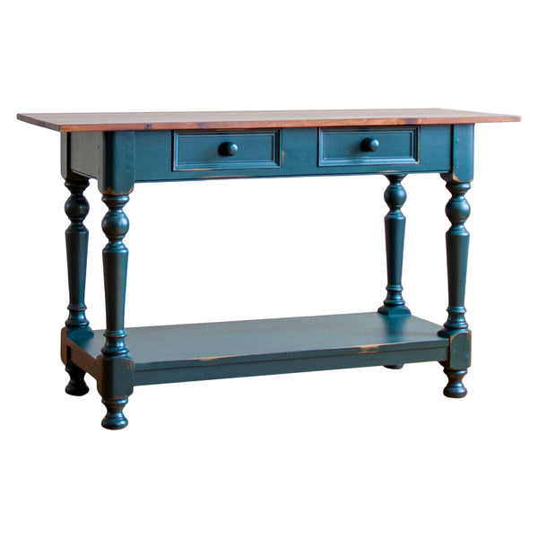 Breton Sofa Table in Green/Rustic Cherry