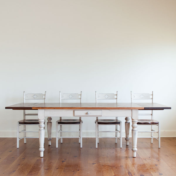 Claremont Table + Wolf Chairs in White/Williams