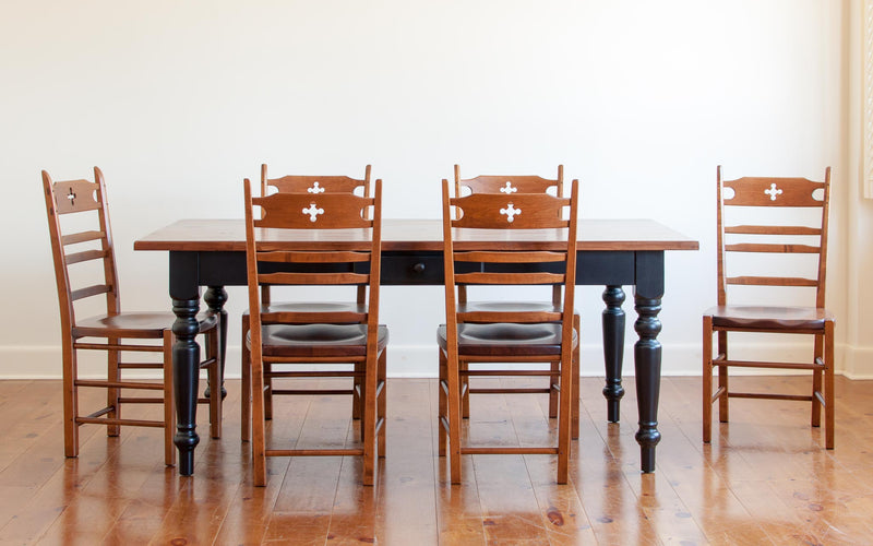 Claremont Table & Wolf Chairs in Black/Williams
