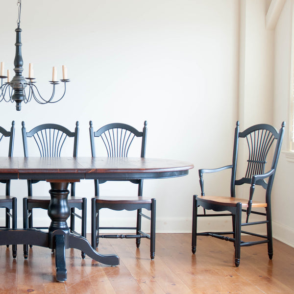 Glenora Extension Table and Clarke Chairs in Antique Black with Williams Pine