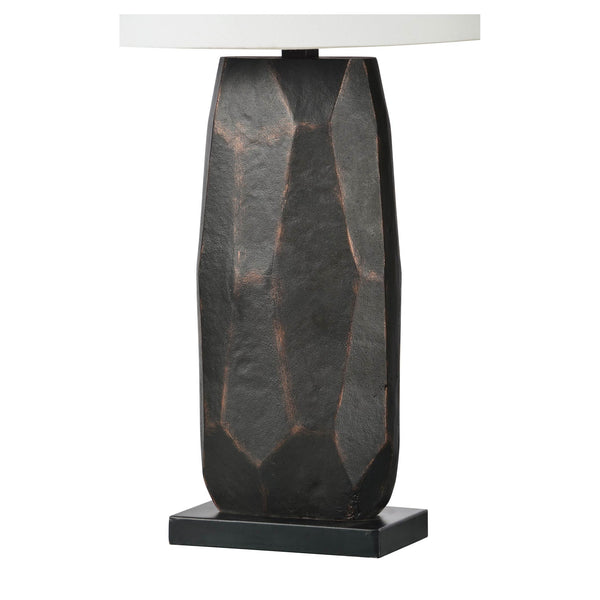 Stone grey table lamp with white shade.