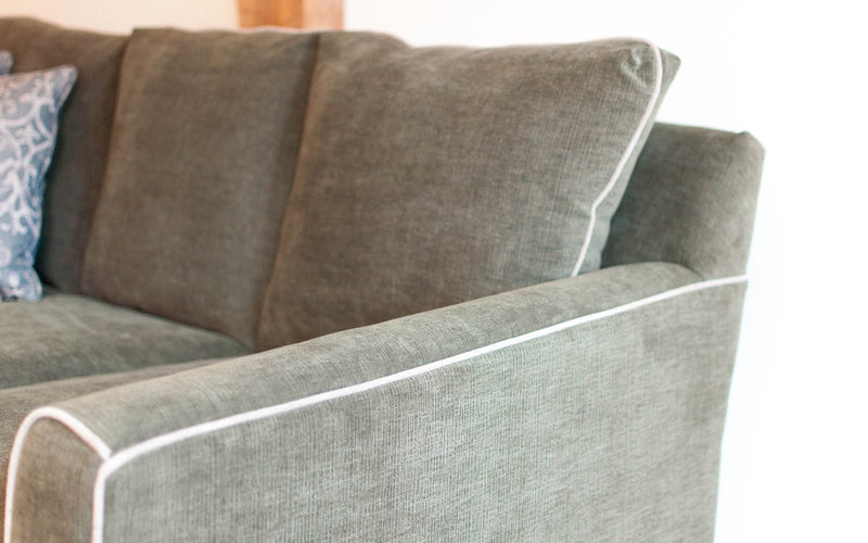 Danforth sofa in green, arm detail