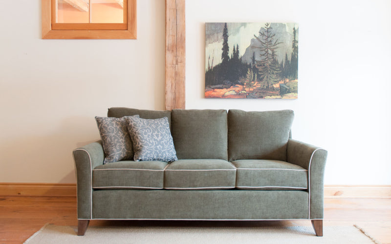 Danforth sofa in green, front on view