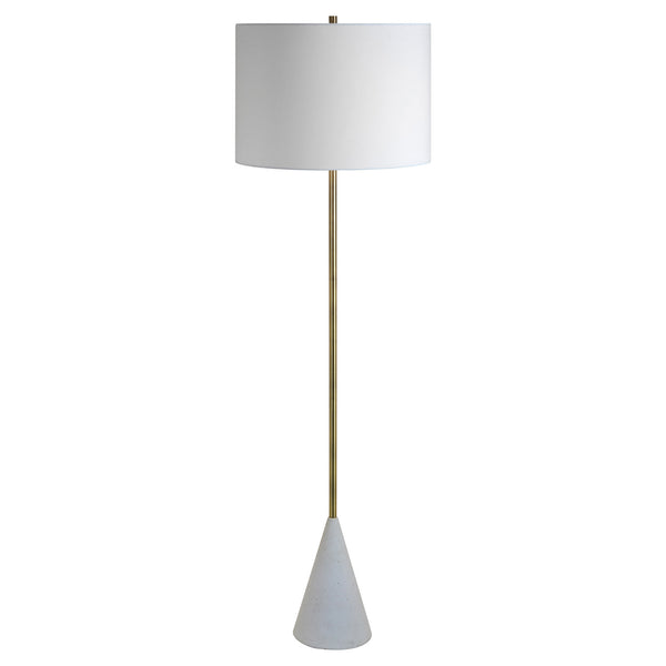 White and metallic floor lamp.