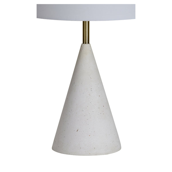 Textured table lamp with white shade.