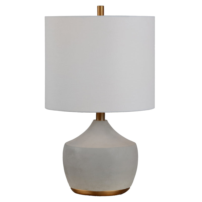 Table lamp with cylinder shade and round base.