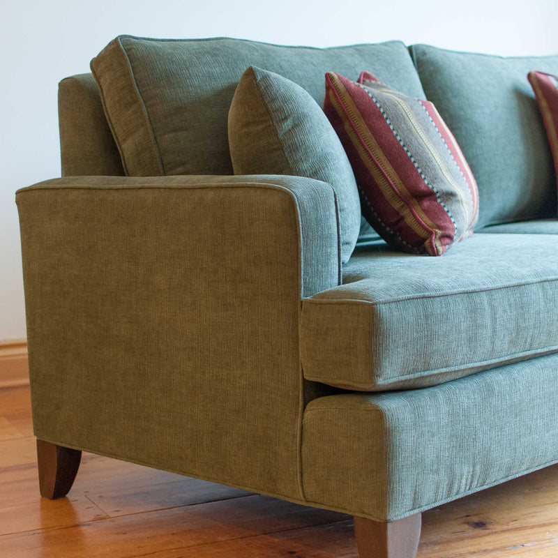 Davenport sofa in olive, arm detail