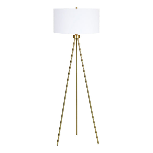 Gold plated floor lamp with three legs.