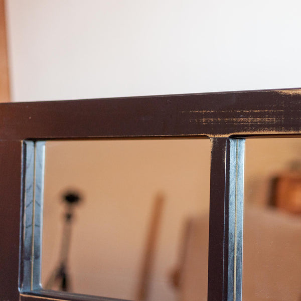 Eight Pane Mirror in Antique Black