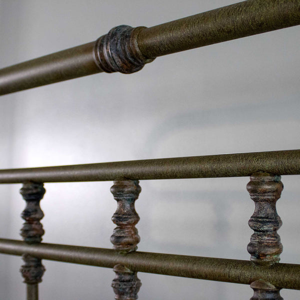 Fairview iron bed, close up of casting detail, shown in textured moss finish