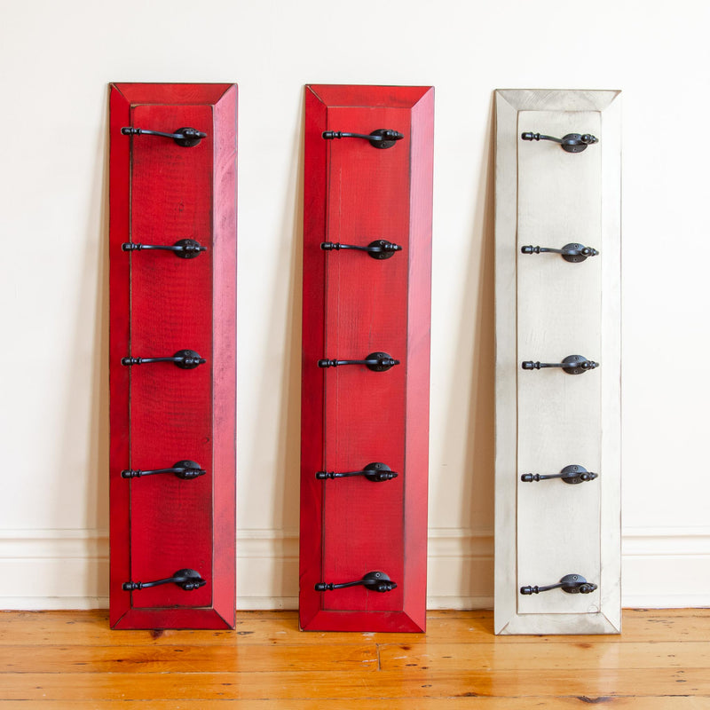 wall coat rack in white and red