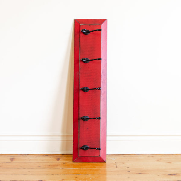 wall coat rack in red