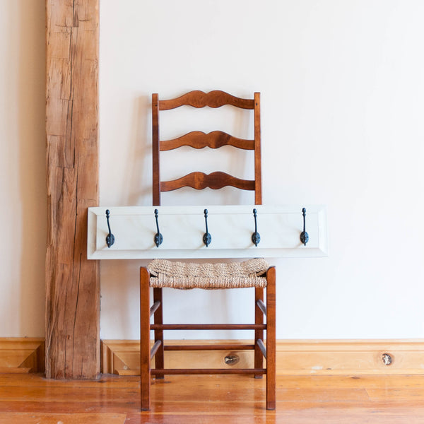 Five Hook Coat Rack in White