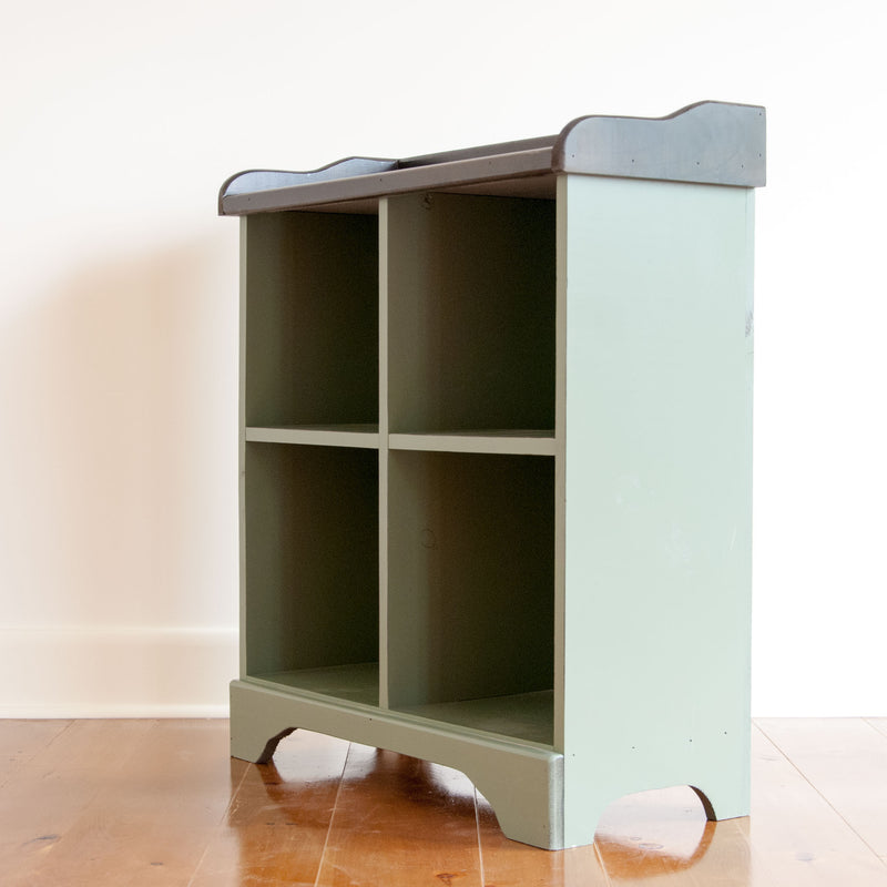 Four cube cubby console in pear, angle on