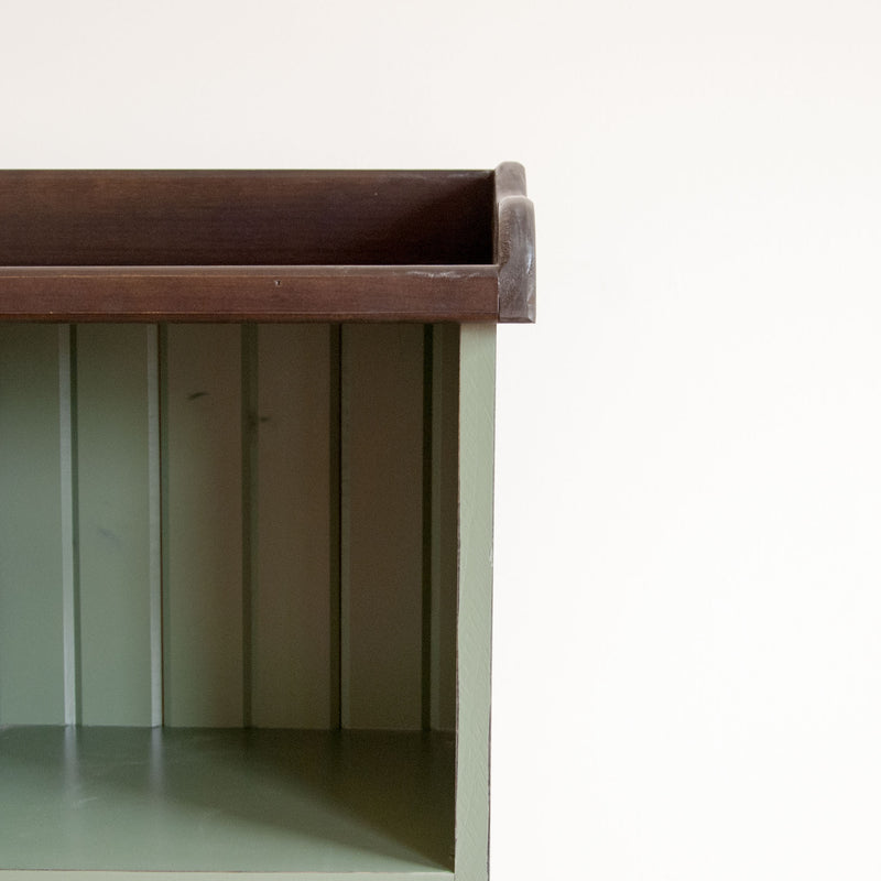Four cube cubby console in pear, close up