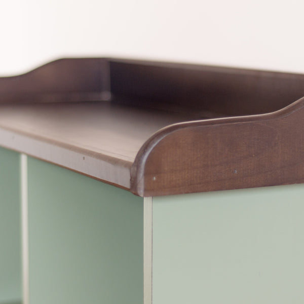 Four cube cubby console in pear, angle on, close up