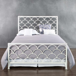 Moulton queen size iron bed in matte white, straight on view