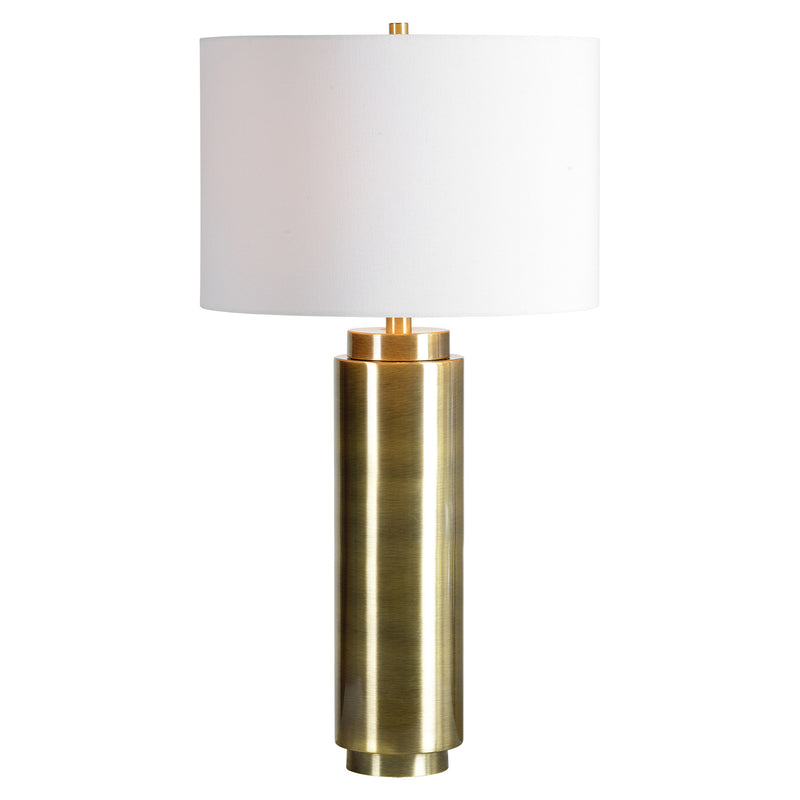 Table lamp with an antique brass finish.