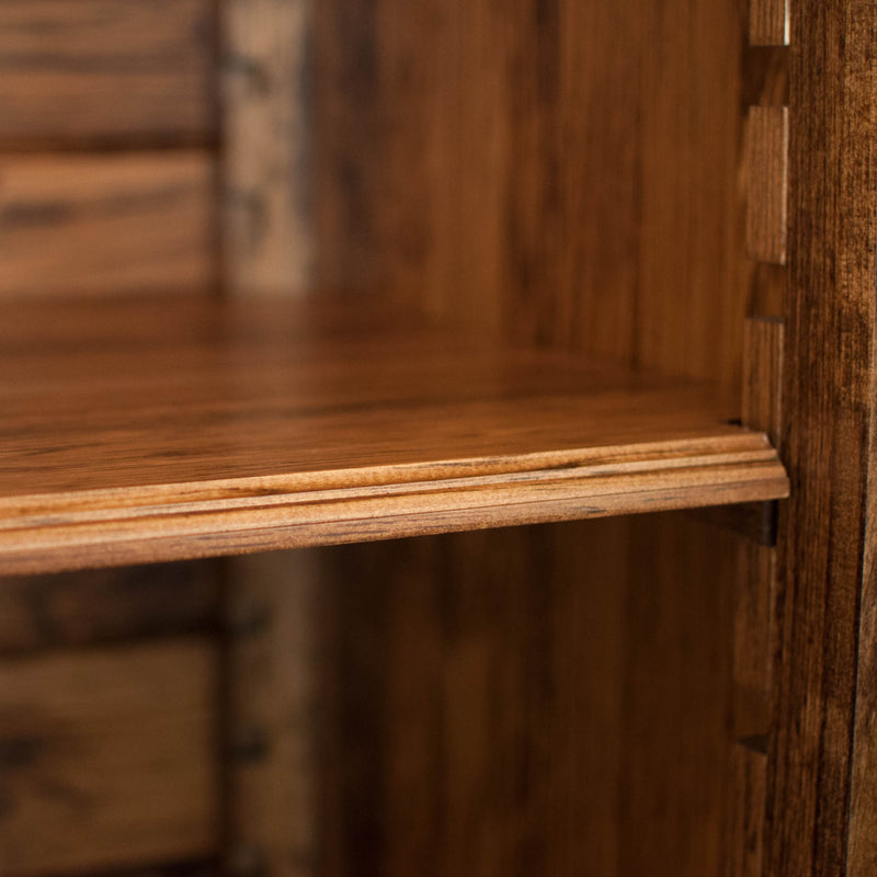 Solid wood raised panel armoire in provincial, shelf detail