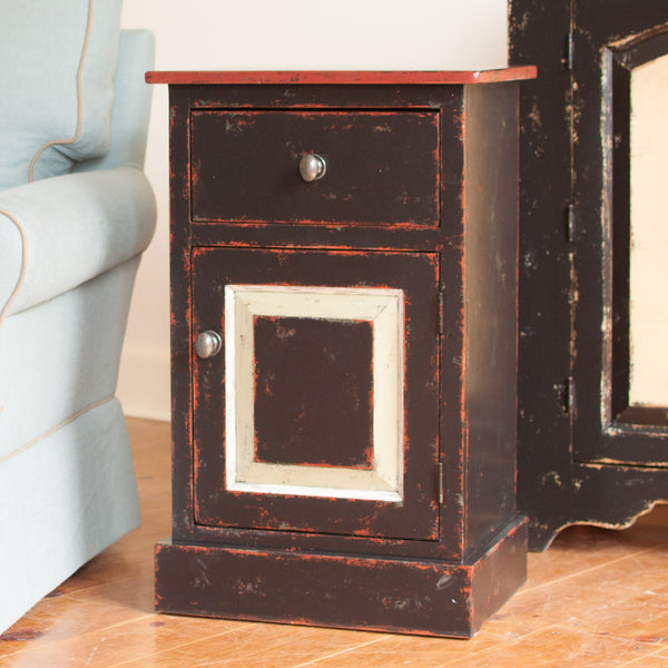 Rustic Side Table in Black/Red/Husk