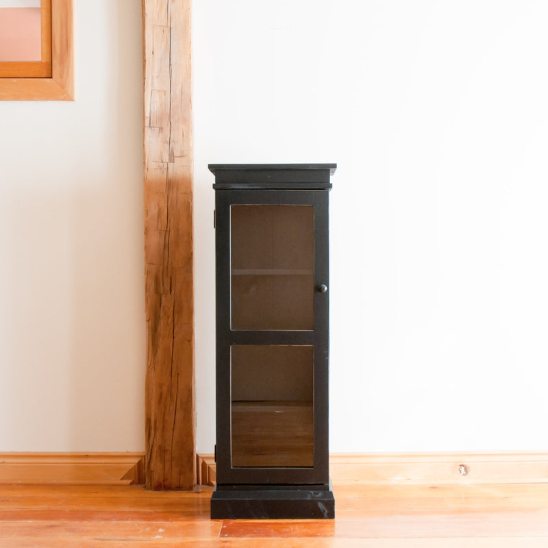 Standard display cabinet in black, straight on view.