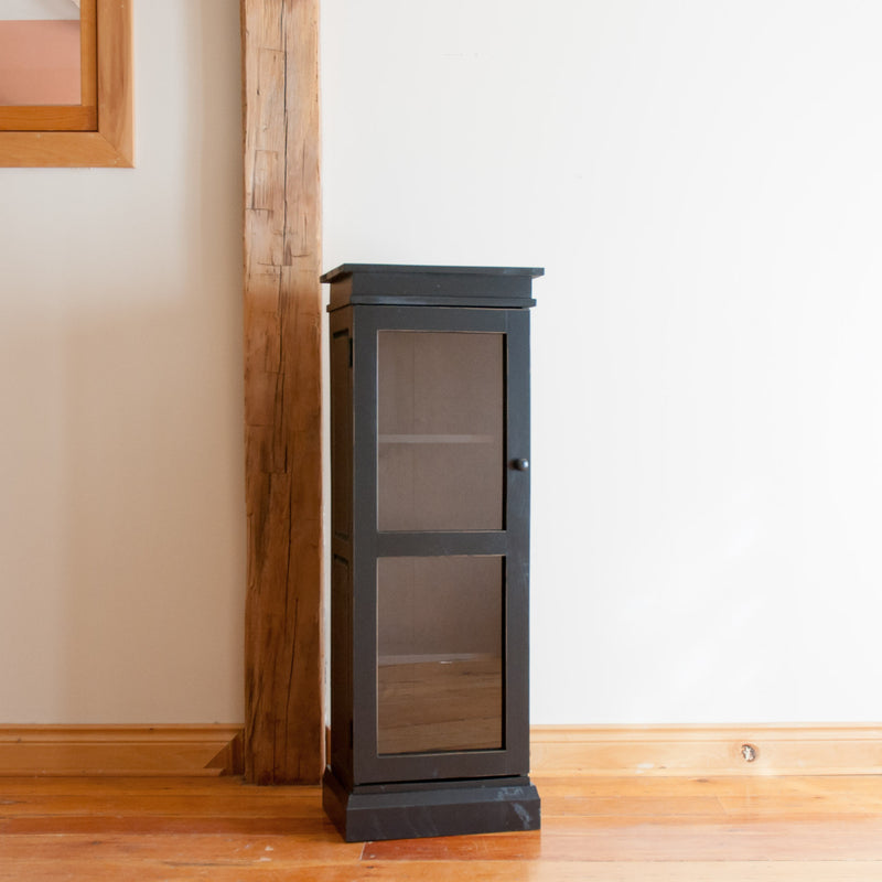 Standard display cabinet in black, angle view.
