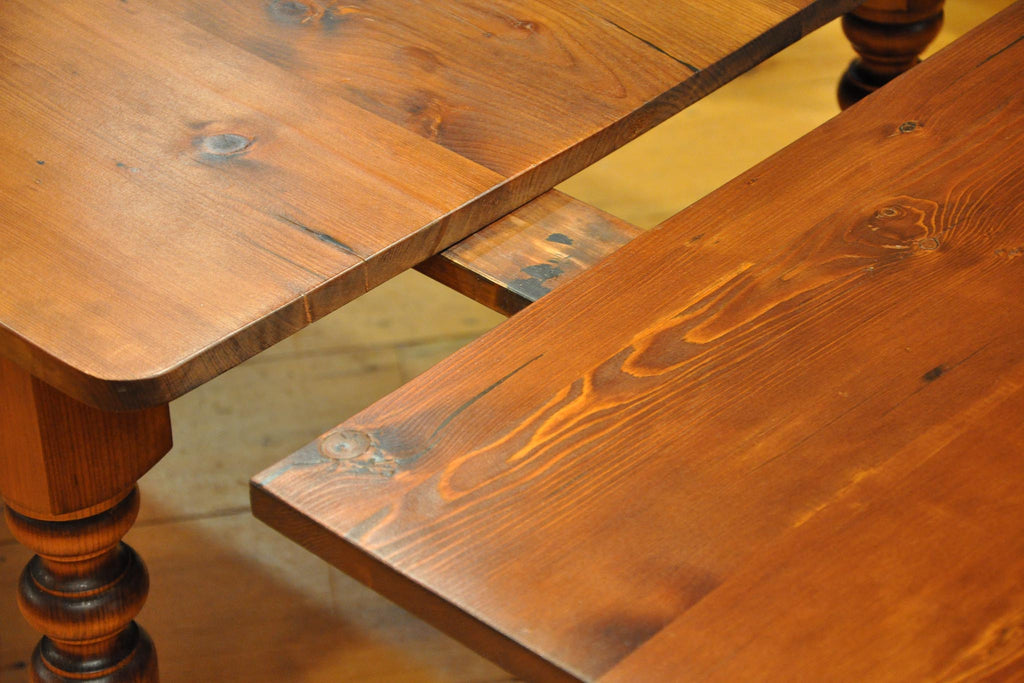 Beau Barn Wood Harvest Table With Leaves In Antique Cherry