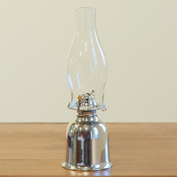 "Windigo Polished Pewter 12.5"" Oil Lamp"