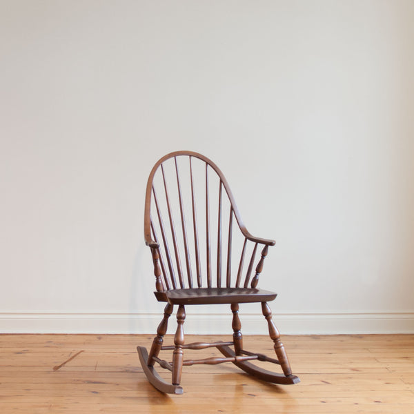 Continuous Arm Highback Rocker in Antique Cherry