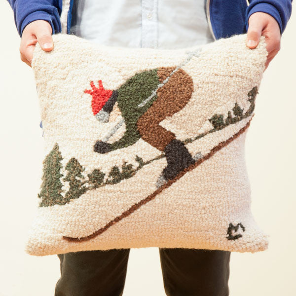 Hand-hooked Skier Toss Cushion