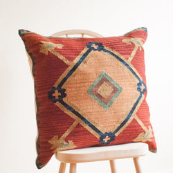 One of a Kind Kilim Toss Cushion in Red/Sand