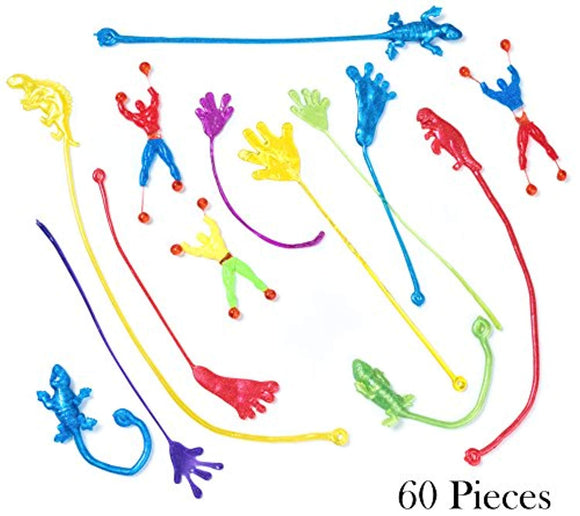 Bulk Toys - Party Favors - 60 Pc Wacky Fun Stretchy Sticky Fingers Toy Assortment Includes; Large Glitter Sticky Hands, 12 Sticky Feet, Wall Climbing Men, & Sticky Lizards, Stocking Stuffers