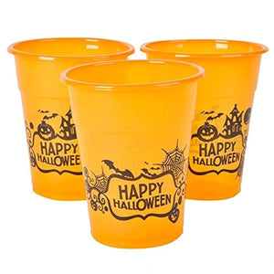"Happy Halloween Plastic Party Disposable Cups - Bulk Pack of 50, 6"", 8oz. Orange Cups"