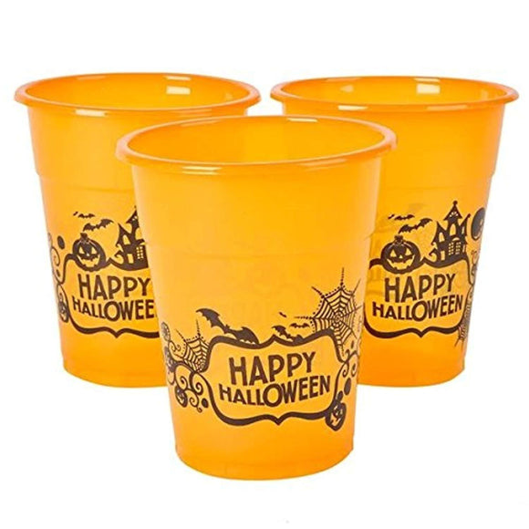 Happy Halloween Plastic Party Disposable Cups - Bulk Pack of 50, 6