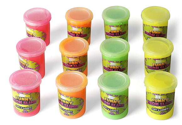 Neliblu Bulk Pack Silly Putty Slime - Non Toxic Therapeutic and Fun Party Favors, Goodie Bag Fillers, Stocking Stuffers for Kids - Bulk Toys 1 Dozen Assorted Neon Colors